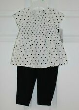 GIRLS SZ 12 MONTH-2 PC OUTFIT SS WHITE TOP AND BLACK PANTS by CARTER'S-NWT'S