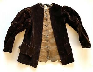 19th Century Boys Velvet Puff Sleeve Jacket with Metal and Steel Cut Buttons