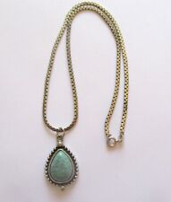 Necklace & Pendant- Sterling Silver Chain- pear shape pendant turquoise color