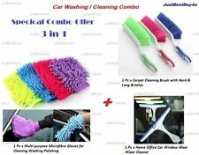 Car Multi-purpose Microfiber Gloves + Carpet Cleaning Brush + Window Glass Wiper