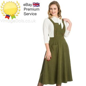 Banned Apparel Retro Book Smart Vintage Style Green Pinafore 50s Dress Skirt