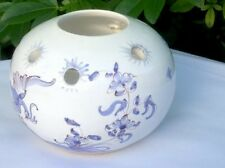 Hand-painted Pierced Ceramic Mediterranean Delft Style Tealight Holder Bowl Vase