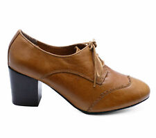 WOMENS GENUINE LEATHER BROWN LACE-UP SMART VICTORIAN BROGUE ANKLE BOOTS 3-8
