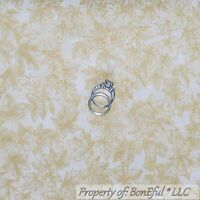 BonEful Fabric FQ Cotton Quilt Cream Gold Metallic Leaf Holiday Xmas Tiny Calico