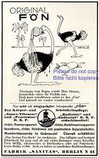 Haartrockner Fön Reklame von 1925 Vogel Strauss Federn Wüste Schönheit Hahn +