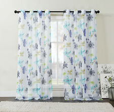 "Extra Long 108"" Two (2) Piece Sheer Grommet Window Curtain Panels: Floral Design"