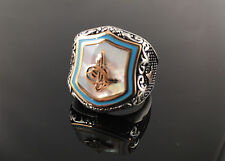 .925 Sterling Silver White Pearl w/ Sultan Signature Men's Ring -US Seller -1K6A