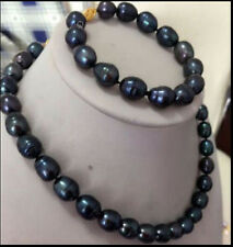 9-10MM Black Freshwater Pearl Necklace Bracelet Set