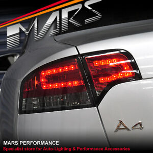 Smoked Red LED Tail Lights Indicators for AUDI A4 S4 RS4 S-Line B7 05-08 Sedan