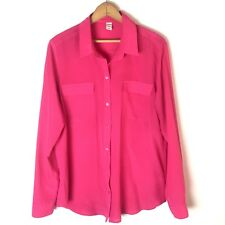 Old Navy Solid Button Front Top Size L Bright Pink