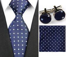 Azul 100% Puro Seda Corbata Cuff-Links & Pañuelo Conjunto Azul Y Plateado Puntos