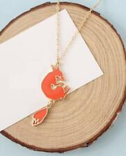 GOLD PLATED PENDANT NECKLACE - ENAMELLED FOX - FREE UK P&P....CG1865