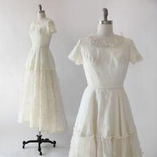 Vintage 50s I. Magnin Ivory Silk Organza floral wedding dress XS