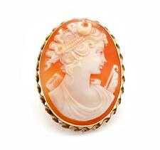 14k Yellow Gold Vintage Carved Shell Cameo Brooch/Pendant
