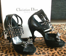 CHRISTIAN DIOR QUEEN MUM SHOES BLACK SUEDE & SNAKESKIN PYTHON SIZE UK 4.5