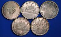 5x 1962 - 1966 Canada Canadian $1 dollars,  80% silver, QEII, aUNC *[18968]