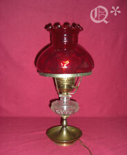 1970s Optic Parlor Ruby Lamp with Ruffled  Fluted / Pie Crust Top  Work