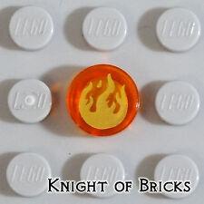 Lego Minifigure TRANS-ORANGE Round Tile 1x1 Gold Flames Fire Chima Flat