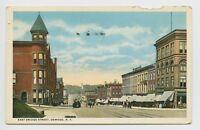 Postcard - Oswego, NY - EARLY 1916 STREET SCENE - E Bridge St - Trolley Cars - A