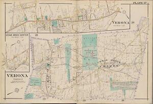 1906 VERONA CEDAR GROVE OVERBROOK ASYLUM MONCLAIR GOLF ESSEX COUNTY NJ ATLAS MAP
