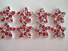 8 x 25mm STAR Shape Wooden Buttons -Red & Grey Design - 2 Holes - No.981