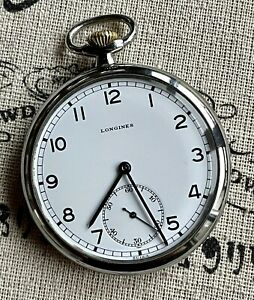 1937 Longines Pocket Watch, Vintage and Gorgeous! 50mm, Xlnt Dial & Runs Well