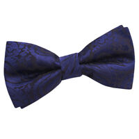 Mens Bow Tie Woven Floral Paisley Navy Blue Wedding Classic Pre-Tied by DQT