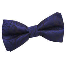 DQT Paisley Navy Blue Mens Pre-tied Wedding Bow Tie