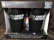 Carolina Panthers Nfl Tailgate Set ~ 2 Plastic Pints And 2 Pulpboard Coasters