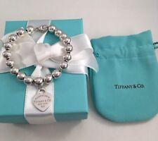 "Tiffany & Co Silver Bead Heart Tag Bracelet 6.75"" RRP $455. Beads 8mm"