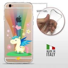 iPhone 6 6S TPU CASE COVER PROTETTIVA GEL TRASPARENTE Unicorno Arcobaleno