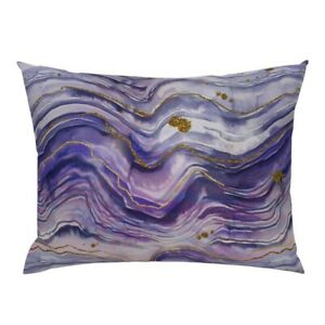 Purple Abstract Watercolor Swirls Marbleized Purple Pillow Sham by Roostery