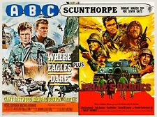 """WHERE EAGLES DARE / KELLYS HEROES repro dbl bill quad poster 30x40"""" C Eastwood"""