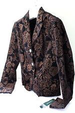 NWT LAUREN Ralph Lauren Velvet Black Gold Brocade Blazer Dress Jacket 12 $199