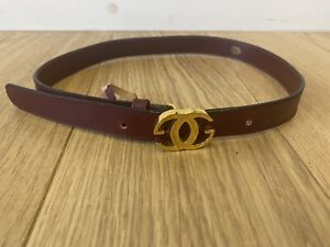 Women's GUCCI Maroon Red Leather Gold Buckle Vintage Belt Size 70