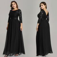 Ever-pretty Plus Size Black 3/4 Sleeve Mother Of Bride Formal Evening Dress 7412