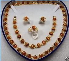 Beautiful jewelry Tiger's Eye necklace bracelet earring ring set