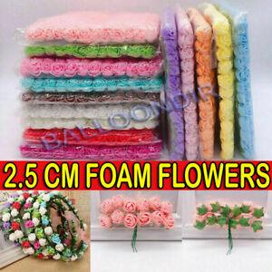 144Pcs Mini Foam Artificial Flowers Rose Bouquet w/Stems Wedding Party Decor UK
