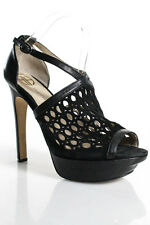 House of Harlow 1960 Black Cut Out Leather Open Toe Platform Pumps Size 9.5