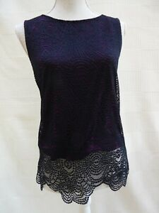 Warehouse black holey/lace outer over purple lining sleeveless top Size 10