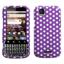 For Sprint Motorola XPRT MB612 HARD Protector Case Phone Cover Purple White Dots
