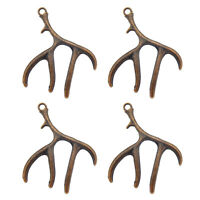 10pcs Vintage Copper Red Alloy Antler Charms Pendant Necklace Jewelry Making