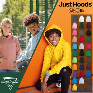 Awdis Kids Hoodie Hooded Sweatshirt Plain Casual Boys Girls Jumper Pullover Top