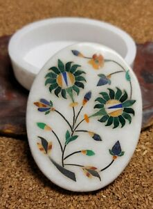 Marble Jewelry Box Semi Precious Stones floral inlay handmade home decor gifts