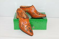 Corky's Elite Booties Mules 10 Western Leather Brown Amber Flame NEW