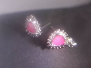 AWSOME! Glittering Heart Shaped Pink  Opalite Earrings!  FREE SHIPPING IN USA!