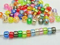 500 Mixed Color Silver Foil Acrylic Barrel Pony Beads 6X4mm for Kids Kandi Craft