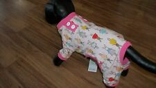 "dog pajamas,pink trim,stretchy,""dressy bunnies"",Large **read details for size"