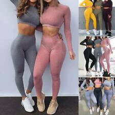 Womens Seamless Long Sleeve Crop Top Yoga Suit Gym Leggings Fitness Workout Set