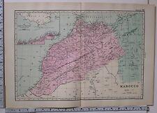 1891 Antico MAP ~ Marocco Marocco Stretto di Gibilterra anjera Fez